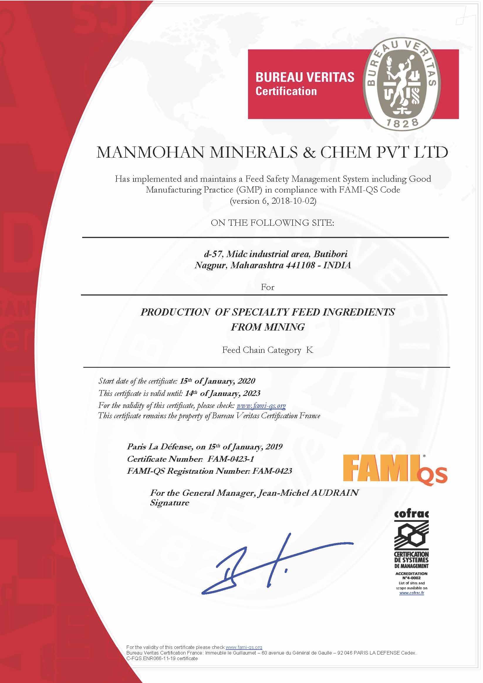 FAMI-QS CERTIFICATE 2020-2023